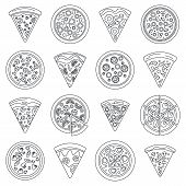 Pizza Slice Icon Set. Outline Set Of Pizza Slice Vector Icons For Web Design Isolated On White Backg poster