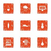 Chemical Release Icons Set. Grunge Set Of 9 Chemical Release Vector Icons For Web Isolated On White  poster