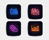 Neon Set Of Accounting Report, Calendar And Paper Clip Icons. Report Diagram Sign. Check Finance, Ca poster