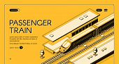 Passenger Train Isometric Vector Web Banner. High-speed Express Train On Railroad Station, Line Art  poster