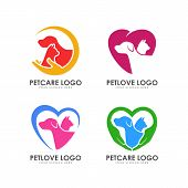 Pet Love Logo Design. Pet Care Logo Design poster
