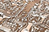 Electronic circuit plate.Selective focus