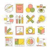 Design Process Icons. Packing Art Creative Web Products And Services Blogging Retouch Stationary Vec poster