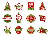 Winter Holiday Sales. Christmas Badges Or Labels Retail Discount Deals Holidays Special Offers Of Ne poster