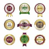 Luxury Premium Badges. High Quality Golden Crown Best Choice Labels And Stamp Vector Template For Ce poster