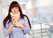 Woman Wearing Neck brace, Indoor
