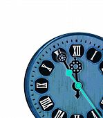 Blue clock with roman numerals