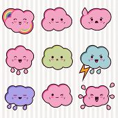 stock photo of kawaii  - Collection of funny and cute happy kawaii clouds - JPG