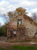 stock photo of fieldstone-wall  - 17th century farmhouse ruins - JPG