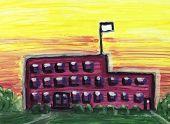 Grande edifício de escola