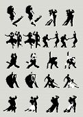image of waltzing  - Silhouette of extraordinary beautifully dancing people of a tango and waltzes - JPG