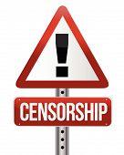 censorship warning sign illustration design over white