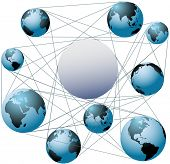 Put your logo or copy in the space at the center of a global network of worlds