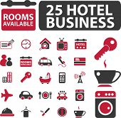 hotel business icons set, vector
