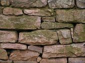 picture of fieldstone-wall  - older dry laid stone wall with no mortar - JPG