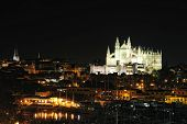 The Cathedral Of Santa Maria In Palma De Majorca At Night
