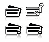 Tarjeta de crédito, CVV código negro icons set con sombra