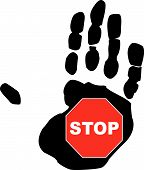 Hand With Stop Sign.