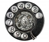 Close-up de discagem de telefone Vintage branco