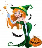 Cute sexy witch in green dress vector illustration