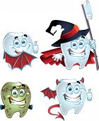 Tooth character dressed in costumes of monsters