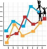 Business-Leute feiern Erfolg auf Wachstum Diagramm
