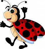 funny red Ladybug cartoon smiling