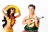 foto of hula dancer  - A novelty kitsch Hawaiian hula woman dancer and male performer
