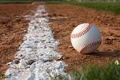 image of infield  - Baseball on the Infield Chalk Line - JPG