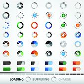 Loading, Charging, Buffering, Play, Go   Set of 48 Vector Icons