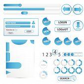 Blue web design elemets.