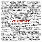 Concepto de atención al cliente en la nube de etiquetas de palabra en blanco