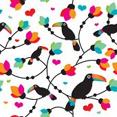 Seamless cute toucan bird tropical illustration background pattern in vector