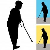 An image of a senior woman using a cane to walk.