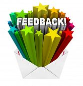 The word Feedback with scores or ratings represented by colorful stars as great reviews for your per