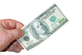 foto of 100 dollars dollar bill american paper money cash stack  - Money in a hand on a white background - JPG