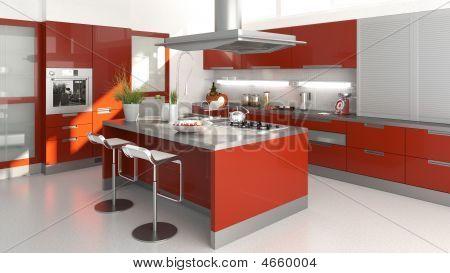 Постер, плакат: Красный кухня, холст на подрамнике