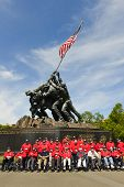 WASHINGTON DC - CIRCA MAY 2013: Iwo Jima Memorial circa May 2013 in Washington DC, USA. Many  vetera