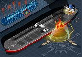 Isometric Oil Tanker Fire Disaster In Front View
