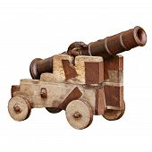 Medieval Artillery Gun Isolated On White Background