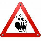 Постер, плакат: Дорожный знак Опасность Страшно животных