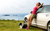 stock photo of collie  - Happy woman and dog enjoying travel and peace on summer - JPG