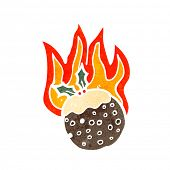 cartoon flaming christmas pudding