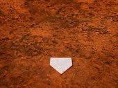 Home plate on baseball field with copy space