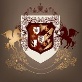 stock photo of winged-horse  - Vector heraldic illustration in vintage style with shield armor crown and swirl ornament for design - JPG