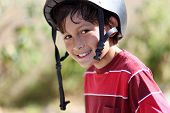 Young smiling skateboarder