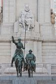 Statue of Don Quixote and Sancho Panza in Madrid Spain