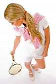 Top View Of Young Woman Standing With Tennis Racket