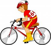 Cyclist In Red