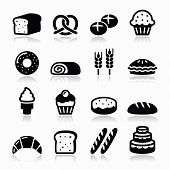 image of french pastry  - Vector icons set isolated on white  - JPG